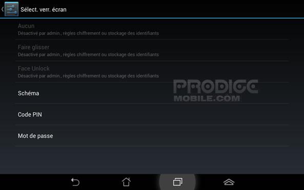 Sécurité Code PIN Android