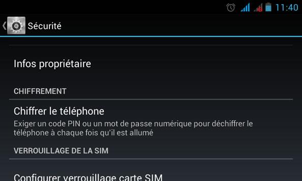 Chiffrement téléphone Android
