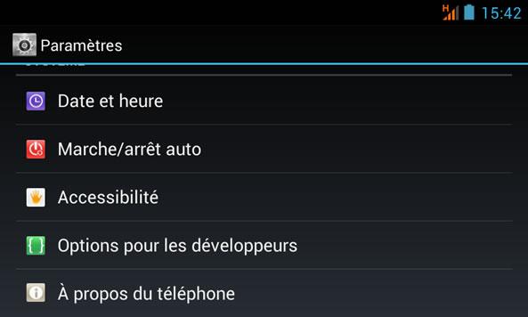A propos du téléphone Android