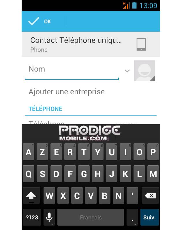 Créer un contact répertoire Android