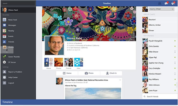 Facebook application pour Windows