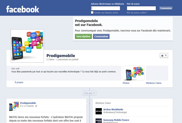 Page Facebook en panne