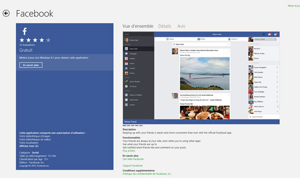 Facebook application windows Modern UI