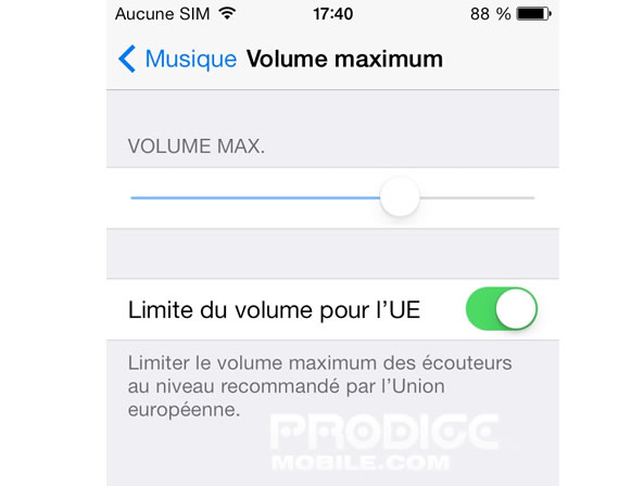 Bloquer le volume maximum sur un iPhone