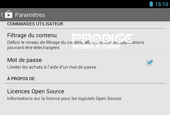 Interdire achat applications sur Google Play Store