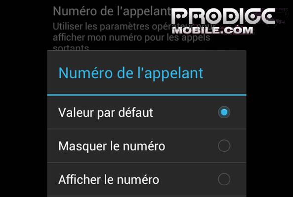 Numéro appelant Android
