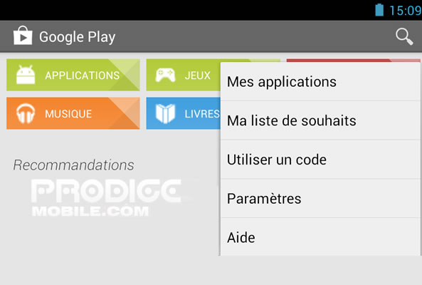 Paramètres Google Play Store