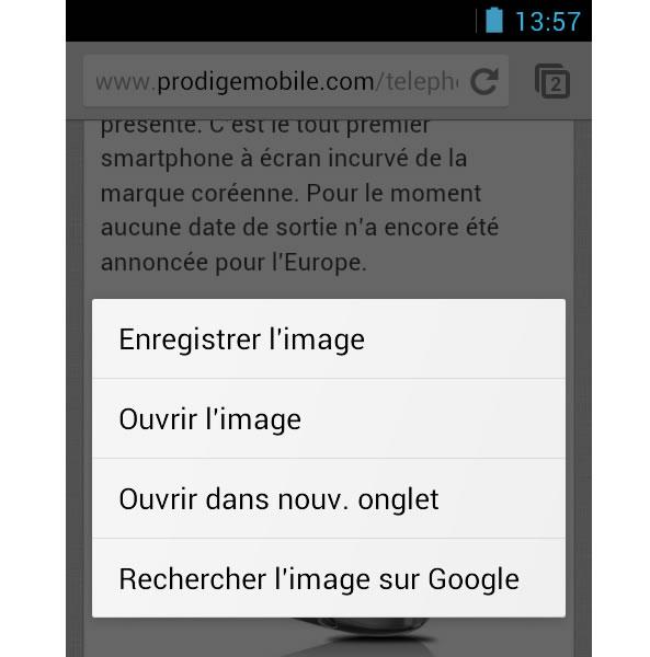 Récupérer image d'un site web sur mobile Android