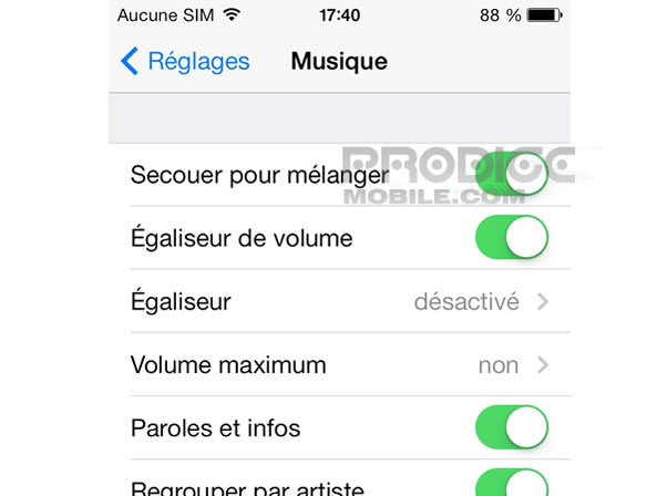 Réglage volume maximum de l'iPhone