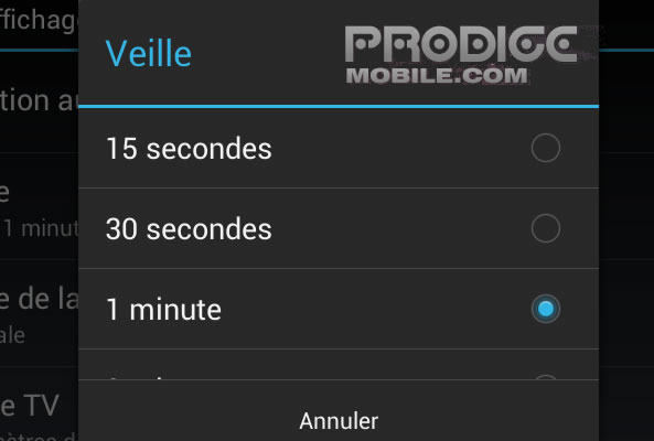 Régler mise veille Android
