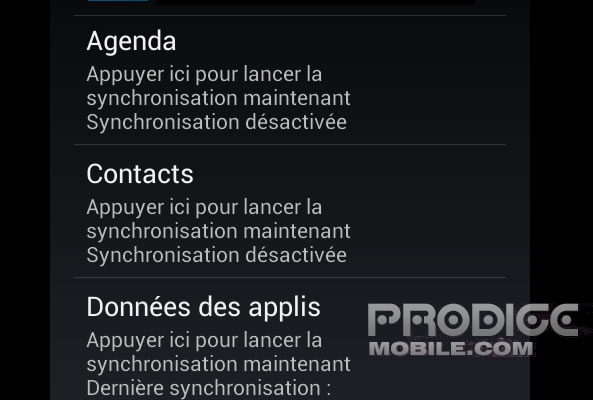 Synchronisation contact Google
