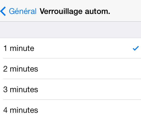 Verrouillage automatique iPhone
