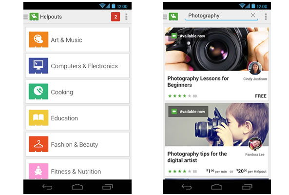 Appli pour Android Google Helpouts