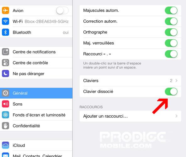 Apple iPad - Réglages clavier dissocier