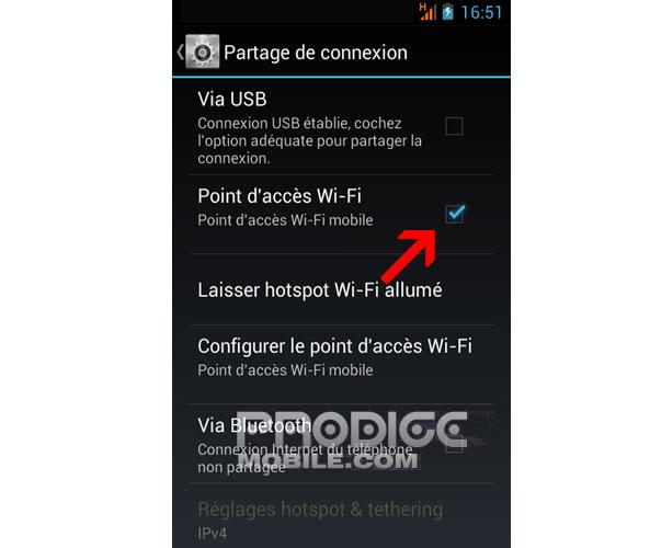 Définir point accès wifi - Partage de connexion