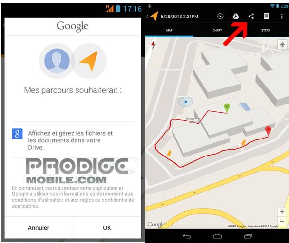 Connecter Google Drive à l'application Mes parcours