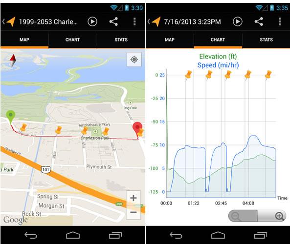 Afficher votre parcours sportif - Application Android