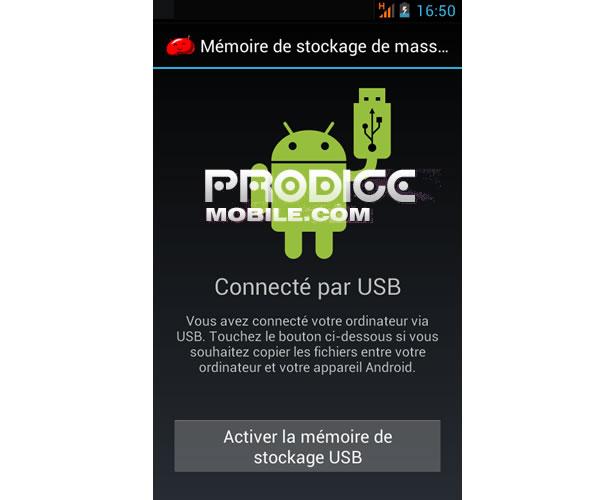 Partage connexion via USB avec un smartphone Android