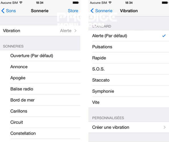 Personnalisation vibreur iPhone