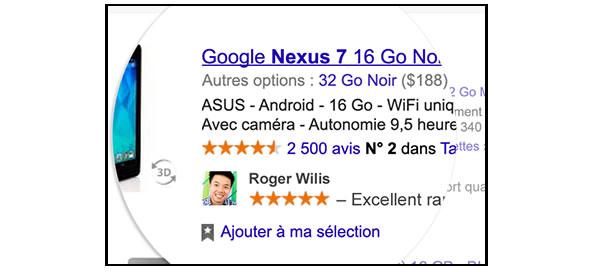 Profil dans pub Google