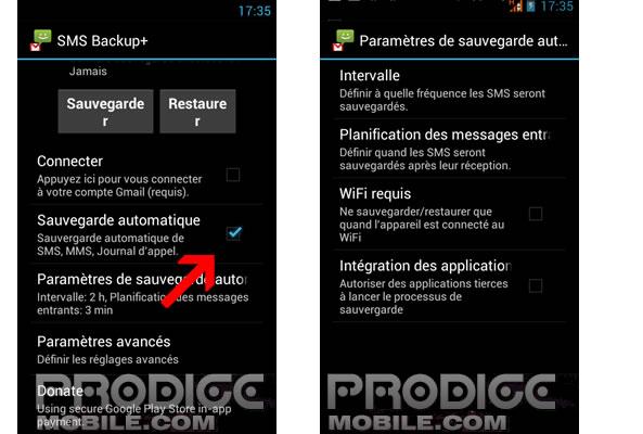 Sauvegarde automatique SMS sur Android