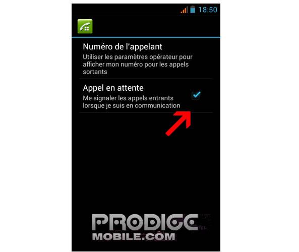 Signal d'appel entrant sur un téléphone Android