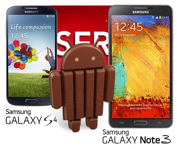 Android 4.4 KitKat pour les Note 3 et Galaxy S4