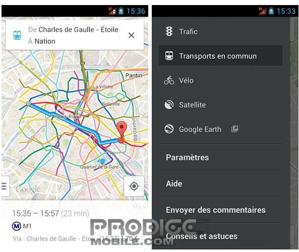 Carte itinéraire en transports en commun