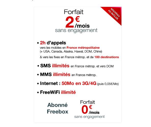 Free inclut la 4G à son forfait 2 euros