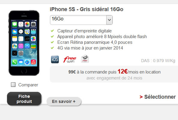 Location d'iPhone 5S de Free