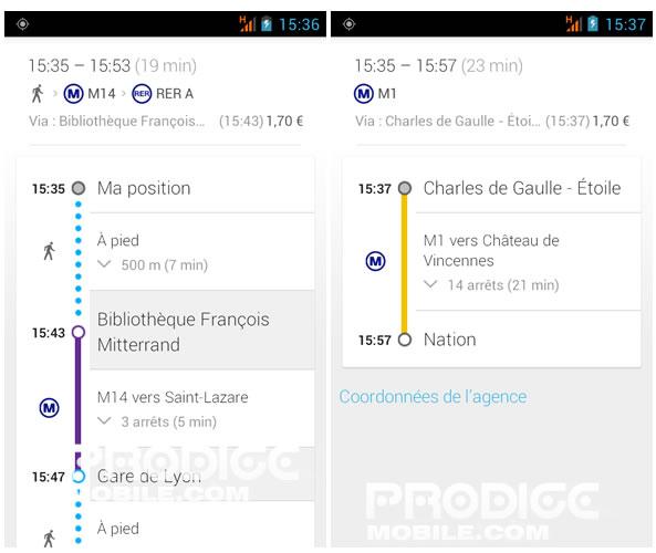 Itinéraire en transports en commun - Google Maps