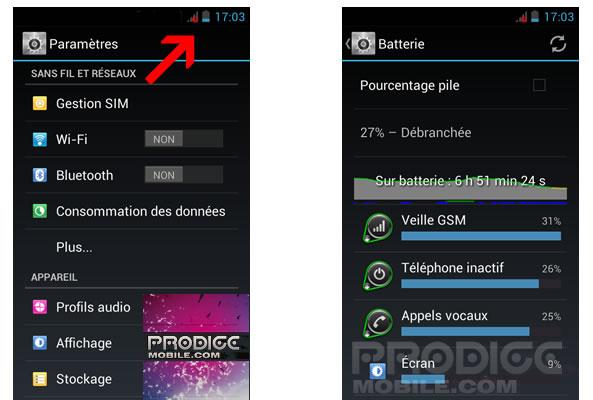 Permiers pas avec un smartphone Android - Batterie