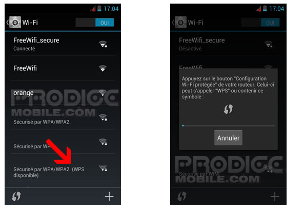 Connecter smartphone Android à Box ADSL par WPS