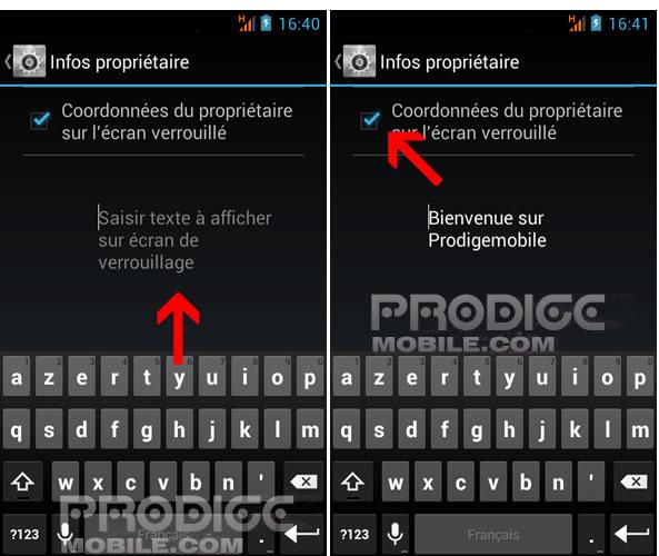 Vos coordonnées sur l'écran de verrouillage d'un smartphone Android