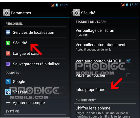 Ajouter un texte à l'écran de verrouillage - Smartphone Android