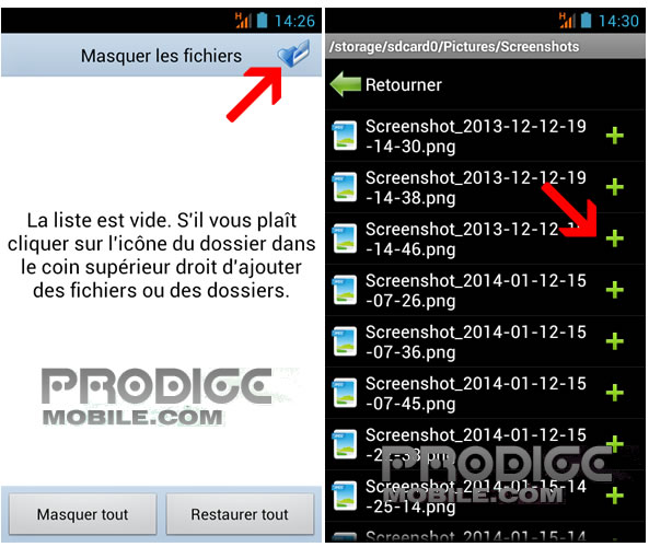 Cacher photos sur Android