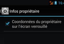 Coordonnées propriétaire - Ecran de verrouillage mobile Android