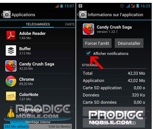 Désactiver les notifications Push de certaines applications Android