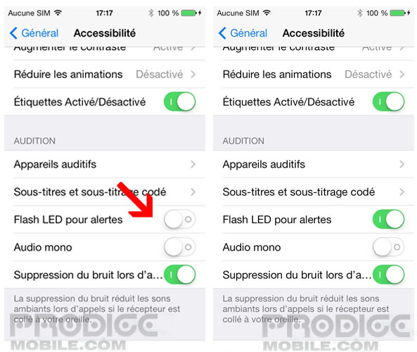 Notifications par flash LED - Apple iPhone