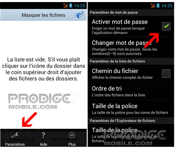 Masquer fichiers Android