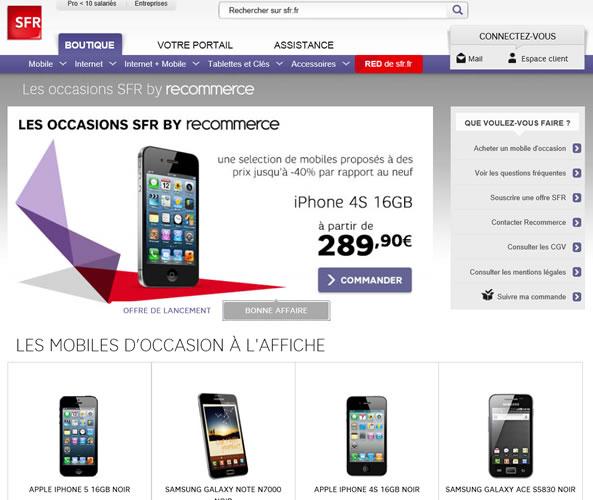 Boutique SFR de smartphones d'occasion