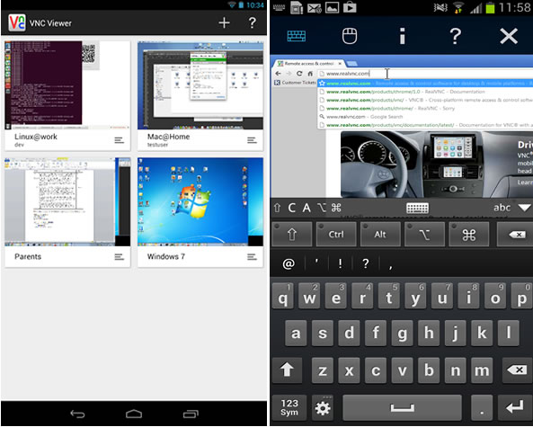 Application VNC Viewer pour Android et iOs