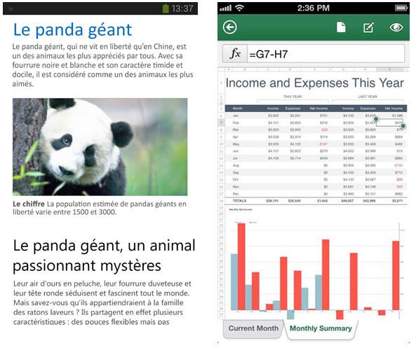 Office gratuit pour iPhone et Android