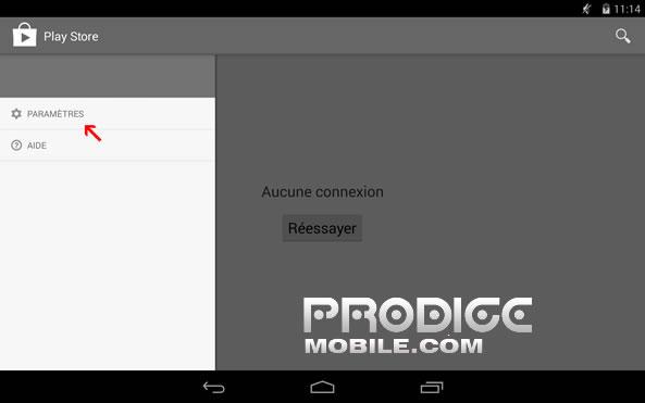Paramètres de Google Play Store