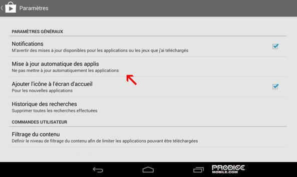 Paramètres mises à jour automatiques Android