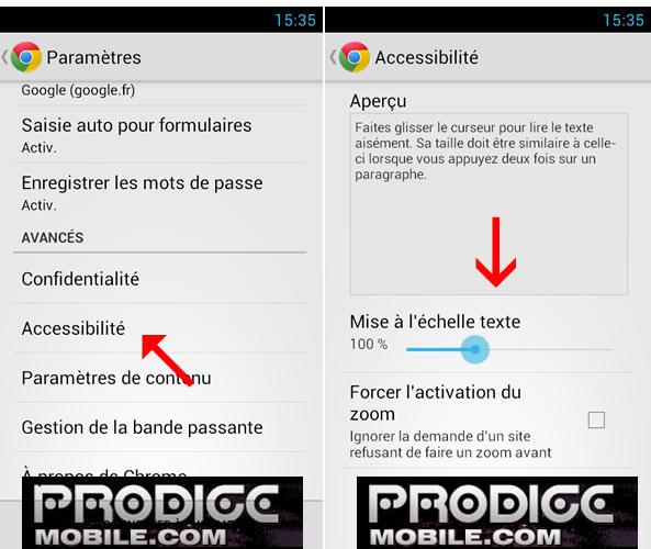 Grossir la taille des caractères sur Google Chrome - Android