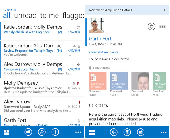 Outlook Web App pour les smartphones Android
