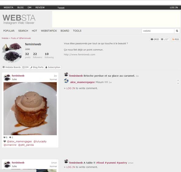 Websta outil pour Instagram