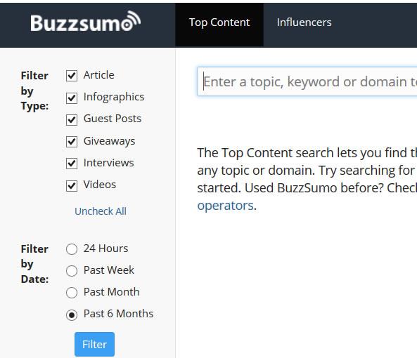 BuzzSumo filtres de recherche