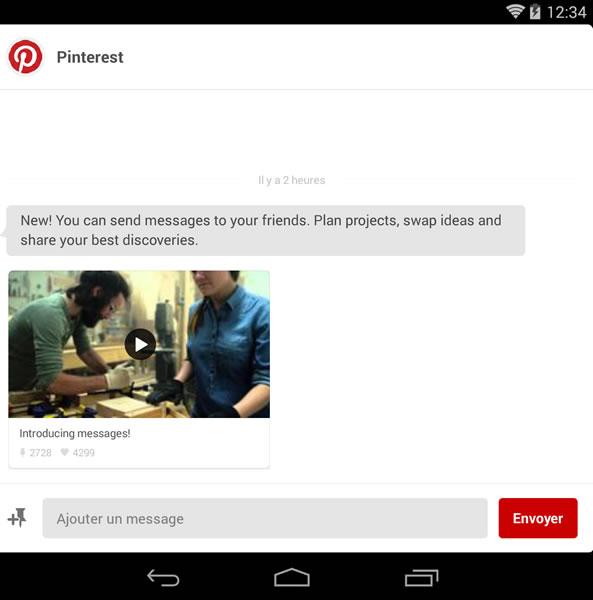 Messagerie instantanée de Pinterest